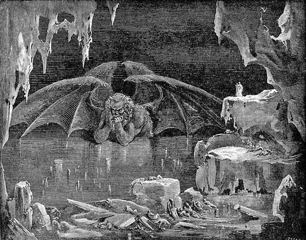 Gustave Doré illustrating Canto XXXIV of Divine Comedy, Inferno, by Dante Alighieri. Caption: Lucifer, King of Hell